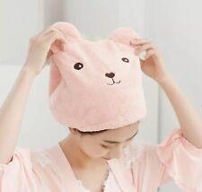 Hair Drying Towel Bear Cute Cartoon Pink Bath Ears