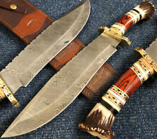 "ALISTAR 18.11"" SUPERB HANDMADE DAMASCUS STEEL HUNTING BOWIE KNIFE W/ SHEATH (922"