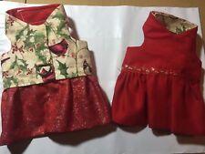 Reversible handmade Christmas dog harness dress (1215) XXS