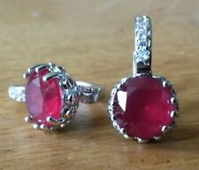 FH Plum UK French hoop earrings 9mm round red ruby 18ct white gold filled BOXD