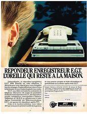 PUBLICITE ADVERTISING 054  1982  PTT   le répondeur enregistreur E.G.T