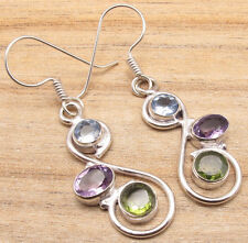 Multi-Color Genuine Multi-Gemstone Jewelry ! 925 Silver Overlay STYLISH Earrings