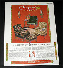 1927 OLD MAGAZINE PRINT AD, KARPEN FURNITURE, ALL YOU WANT YOUR XMAS GIFT TO BE!