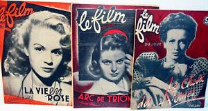 """RARE - 5 N° de la revue  Hebdomadaire """" LE FILM DU JOUR """" Paris-  1947/48"""