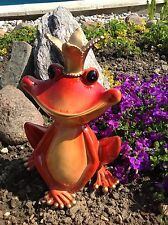 XL Froschkönig 29cm groß Frosch rot / gold, Garten Teich Pool Deko Figur A Rossi