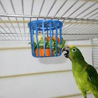 Bird Parrot Feeder Cage Fruit Vegetable Holder Cage Hanging Basket Container LE