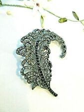 Large Feather Brooch With Clear & Black Rhinestones
