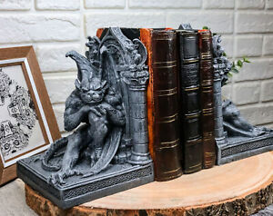 """Medieval Age Gothic Sculptural The Thinker Gargoyle Bookends Figurine Set 6.25""""H"""