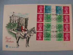 1982 GB Stuart FDI Stamp cover, 16 Stamps, 2 Panes definitive stamps Windsor H/S