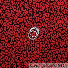 BonEful Fabric FQ Cotton Quilt Black Red Cheetah Leopard Skin Wild Jungle Animal