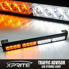 White Amber 16 LED Emergency Traffic Advisor Strobe Light Bar
