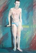 European Art, Vintage Oil Painting, Expressionist Nude Male Portrait