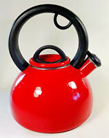 Red Enamel Whistling Tea Kettle 3 Quart Full Black Handle Lid Stainless Steel