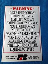 FARM BUREAU INSURANCE MICHIGAN EQUINE ACTIVITY WARNING SIGN LARGE 12 X 18