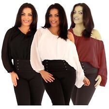 Womens Plus Plain Chiffon Batwing Kimono Sleeve Corset Gypsy Blouse Tops