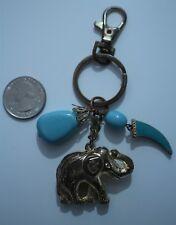 Indian Inspired Elephant Turquoise Stone Tusk Charm Key Chain Key Ring #20315