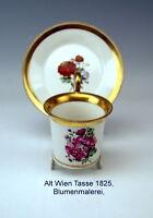 ALT WIEN  SAMMEL TASSE BLUMEN MALEREI FLOWERS VIENNA CUP WITH SAUCER UM 1825