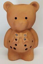 "VINTAGE GARDEN TEA LIGHT HOLDER - POTTERY TEDDY BEAR - 7"" TALL - EX COND"