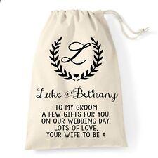 Groom Wedding Gift Bag | Wreath Monogram Design | Personalised
