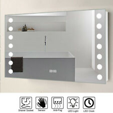 Bathroom LED Light Mirror with Shaver Socket IR Sensor Switch Clock Demister Pad
