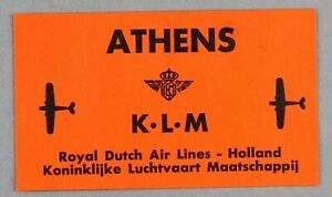 KLM ROYAL DUTCH AIRLINES ATHENS VINTAGE ORIGINAL AIRLINE LUGGAGE LABEL GREECE