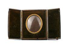 Antique Victorian Travel Campaign Photo Picture Frame Gilt Leather Case