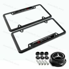 2pcs MERCEDES-BENZ 2018 2019 Black Stainless license plate frame W/ Screw Set