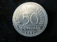 1921-A 50 PFENNIG WEIMAR REPUBLIC GERMAN