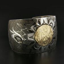 Blue Heron, Sun, Moon, and Stars Native Cuff Bracelet