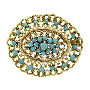 Vintage 14k Yellow Gold Twisted Wire & Round Cabochon Turquoise Open Brooch Pin