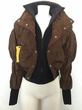 Rock & Republic Brown Layered Nylon Jacket Coat Womens Tween Juniors Sz XS or 2