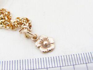 Rose gold flower bracelet, 9ct rose gold bracelet with flower charm, hallmarked,