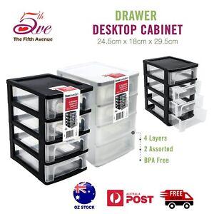 4-Tier Drawer Desktop Cabinet Plastic Home Office Organiser Small Storage Box
