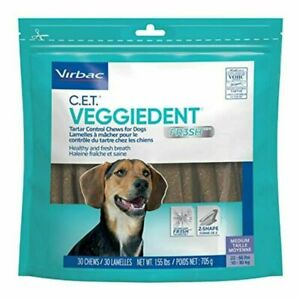 CET VeggieDent FR3SH Tartar Control Chews for MEDIUM Dogs - 30 Count