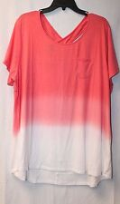 COOL CUTE NEW WOMENS PLUS SIZE 3X CORAL TIE DYE OMBRE CROSS X BACK TEE SHIRT TOP