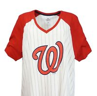 Washington Nationals MLB Majestic Women's Pinstripe Raglan V-Neck T-Shirt, nwt