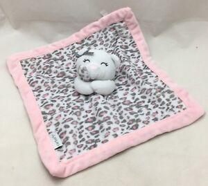 "White Teddy Bear Security Blanket Pink Leopard Print Blankie Plush 13"" Lovey"