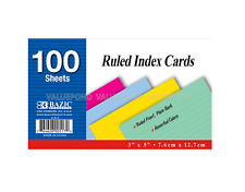 """BAZIC 100 Ct 3"""" x 5"""" Ruled Index Colored Cards 4 Assorted Colors 100 sheets"""