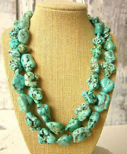 Huge Natural Green Turquoise Gems Boho Chunky Jewelry Beaded Long Necklace 35''