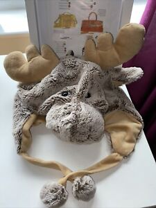 Moose Character Hat Child One Size VGC Soft Cute Warm