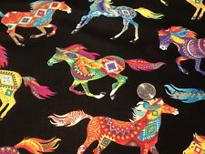 Fabric Southwest Horses Neon on Black Cotton by the 1/4 yard BIN