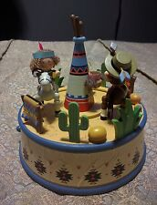 """Rare Cowboy and Indian """" Home On The Range"""" Action Musical Box by Enesco 1992"""