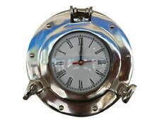 "Deluxe Class Chrome Porthole Clock 8"" - Nautical Wall Clock - Beach Decor"