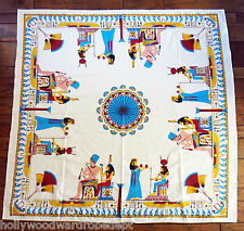 Square Egyptian tablecloth 55 x 56 pyramid nefertiti fabric king tut anuk isis