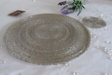 4 Round Glass Beaded Silver Placemats Table Place Mats & Coasters Christmas Set
