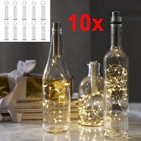 10stk Korken 20er LED Lichterkette Flaschenbeleuchtung Flaschenlicht Batterie