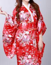 Traditionelle Japanische Luftiger Kimono Damen Mantel mit Hüftgürtel ROT Blumen