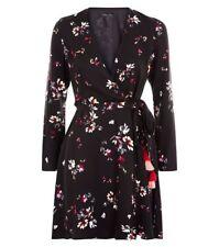 Bnwt Womens New Look Size 12 Black Floral Wrap Mini Dress