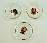 Lot of 3 Vintage Clear Glass Ashtrays Dog /  Hunting Dogs Art Deco Mid Century