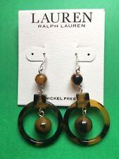 Ralph Lauren Brown Tortoise Bead Circle Dangle Earrings NWT Ret $38